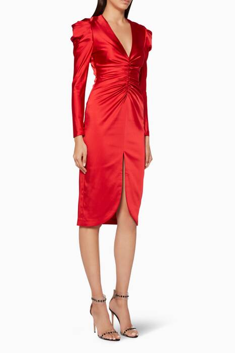 Fire-Red Pleated Satin Dress