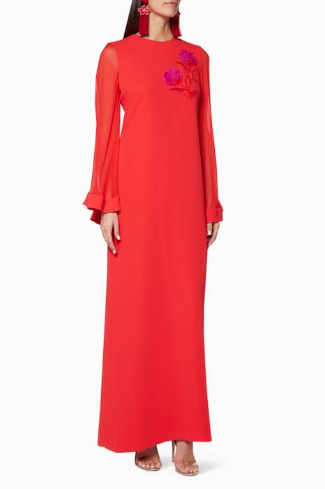 Red Embellished Nashwa Kaftan