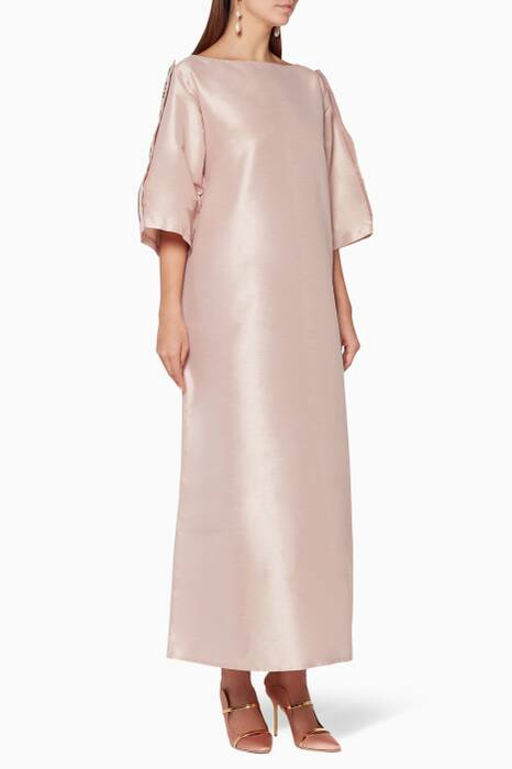 Pink Embellished Raw-Silk Kaftan