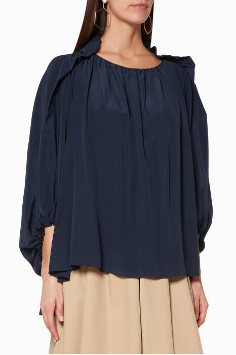 Ink-Navy Fluid Ruffle-Trimmed Blouse