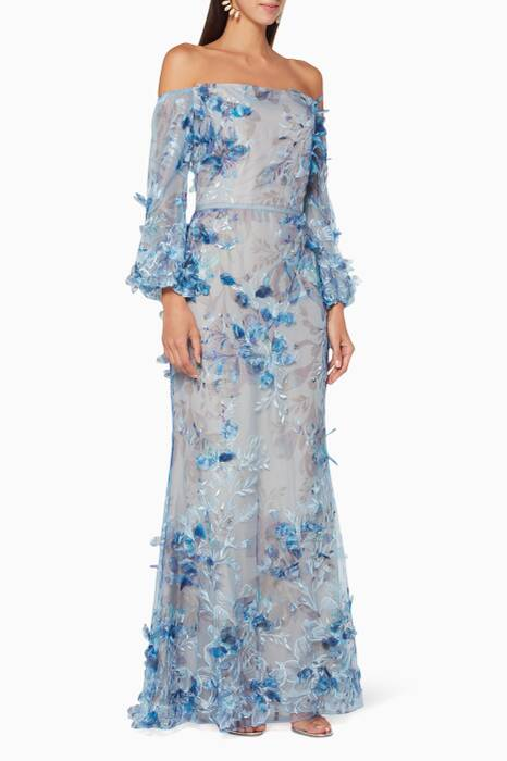 Light-Blue Floral Appliqué Embellished Gown