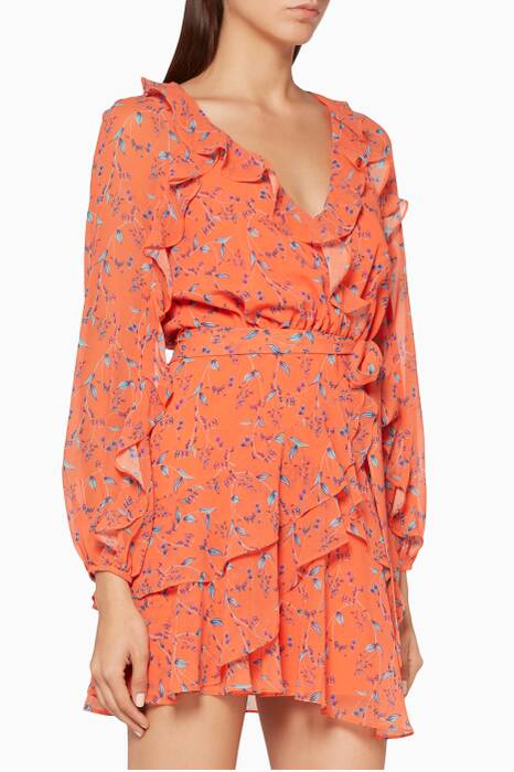 Oranged Floral-Print Daring Day Dress