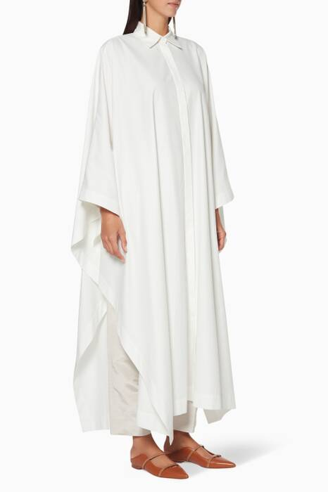 White Long Poncho Shirt