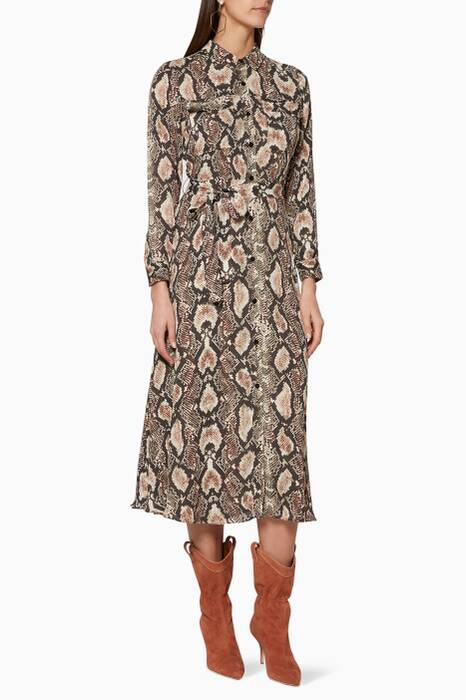 Multi-Coloured Snake-Print Elfrida Shirtdress