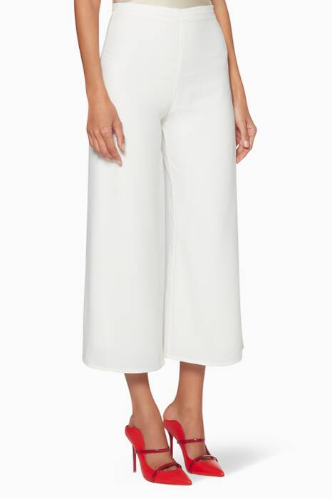 White Cropped Culotte Pants