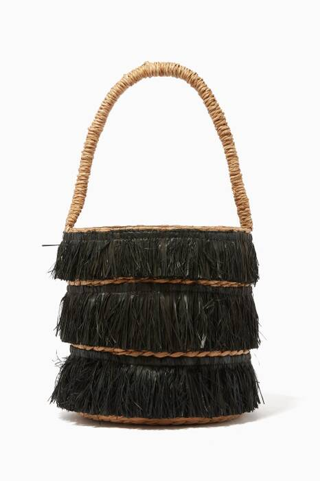 Black Fringed Mini Lolita Bucket Bag