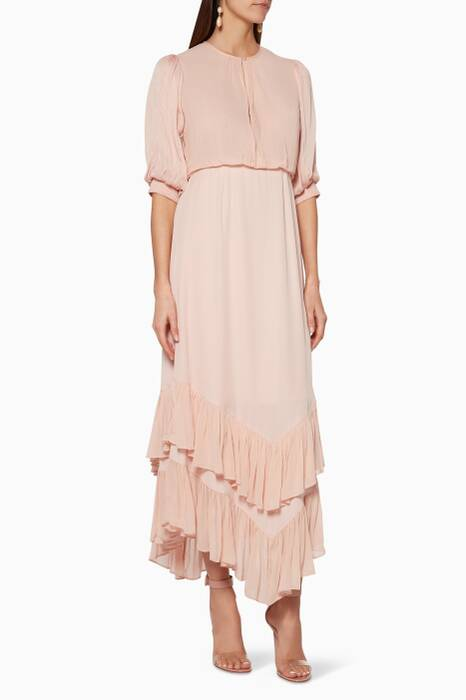 Light-Pink Vintage Midi Dress