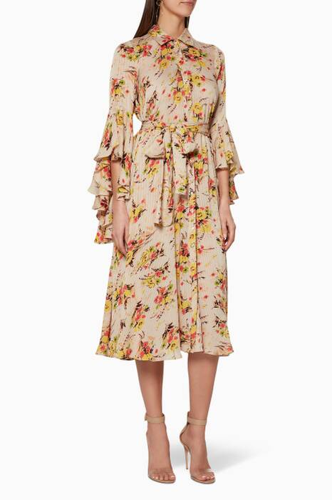 Beige Floral-Print Shirtdress