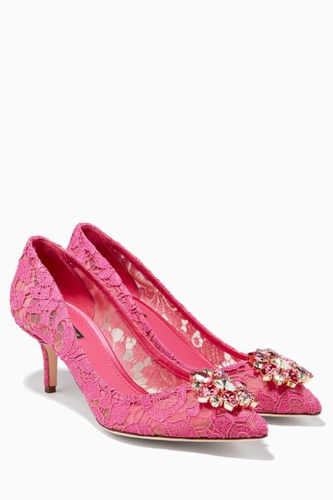 Pink Bellucci Lace Pumps