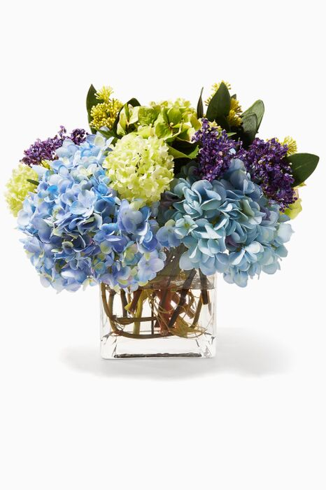 Blue, Purple and White Hydrangea Bouquet in Glass Cube Vase