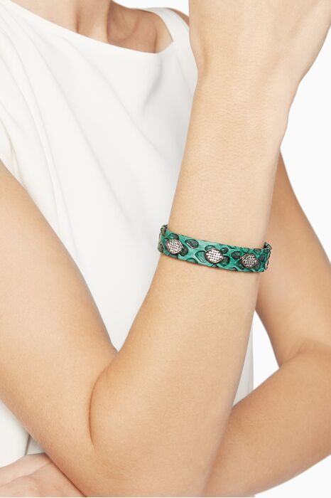 Green Snake Leather And Cubic Zirconia Bracelet