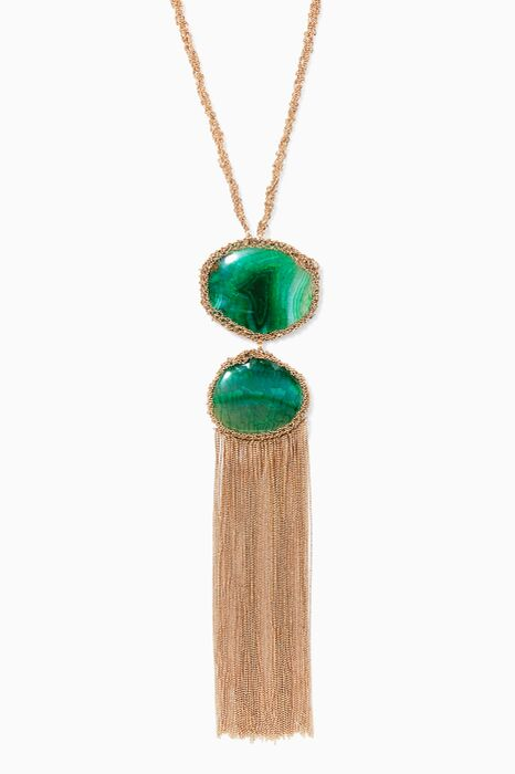 Ardelia Green Stone And Crochet Chain Necklace