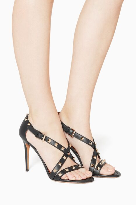 Nero Rockstud Crossover Leather Sandals