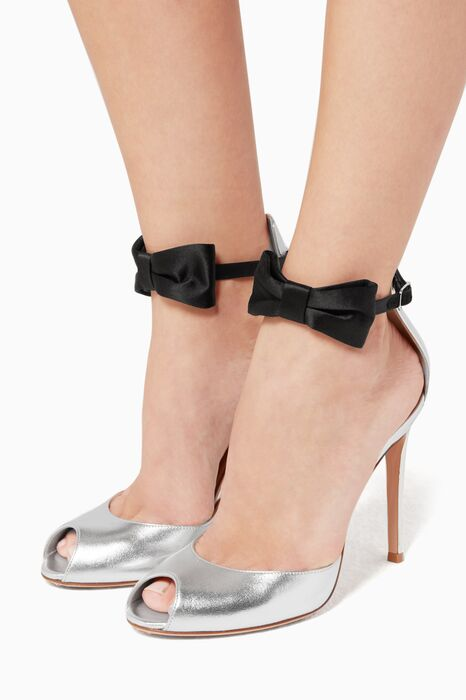 Black Peep Toe Sandal With Ankle Bow