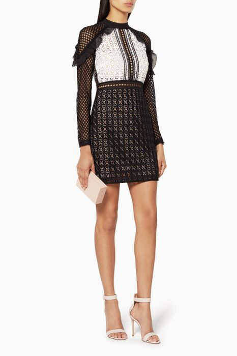 Multi-Colour Geometric Mini Dress Monochrome