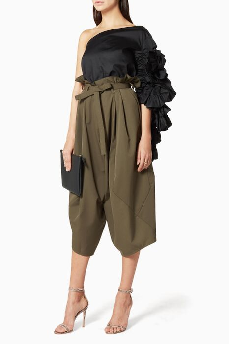 Khaki Ruffled-Waist Trousers