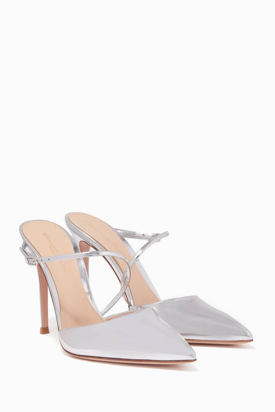 Nappa Silk & Plexi Mules in Metallic Silver. - size 39 (also in 35,36,36.5,37,38,38.5,39.5) Gianvito Rossi