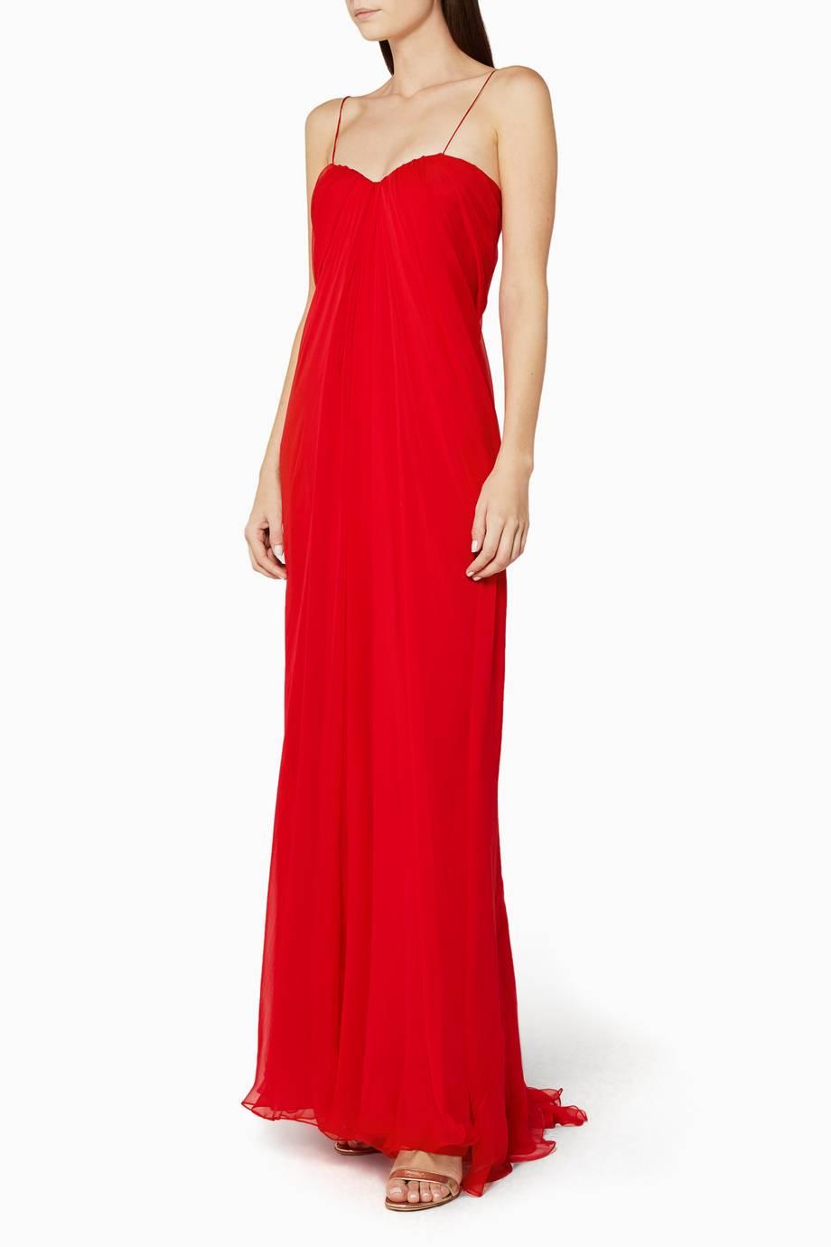 Shop luxury alexander mcqueen red draped bustier gown for Alexander mcqueen wedding dresses price