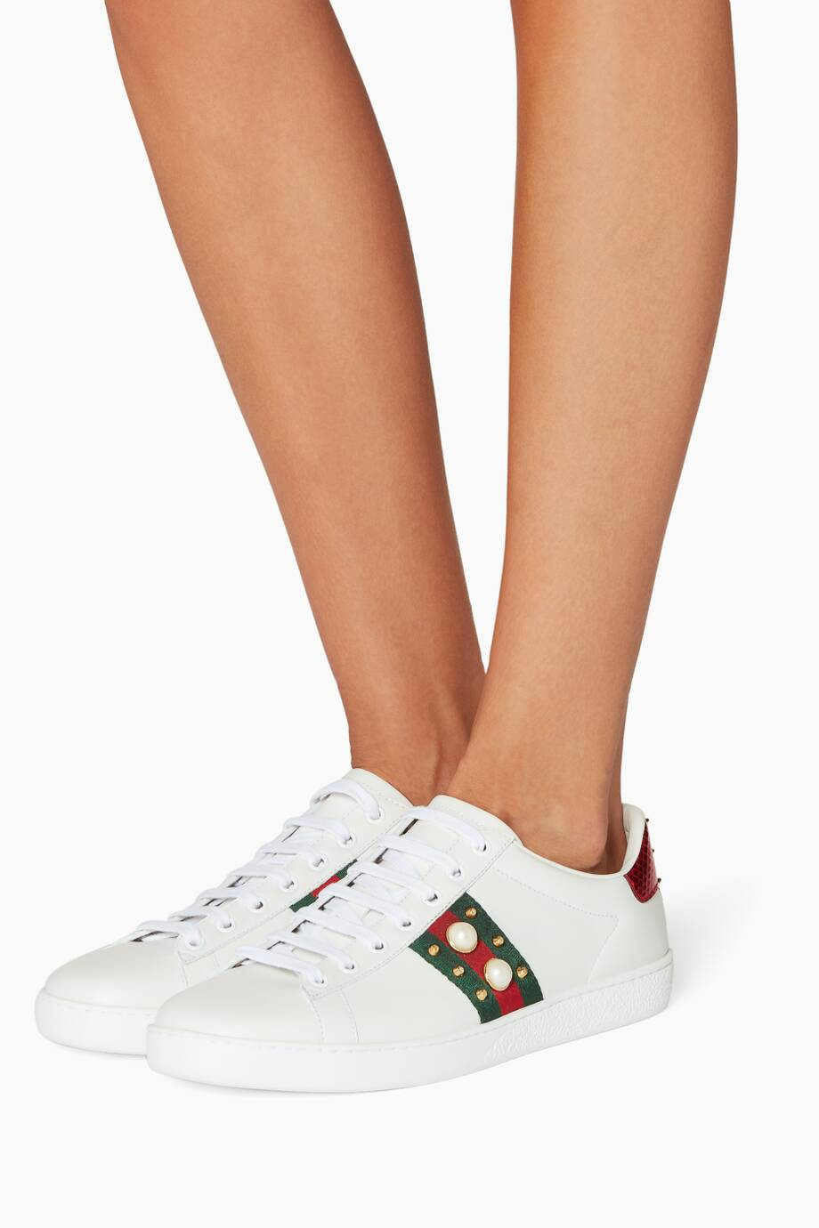 65590d4029a Shop Luxury Gucci White Ace Studded Leather Low-top Sneakers ...