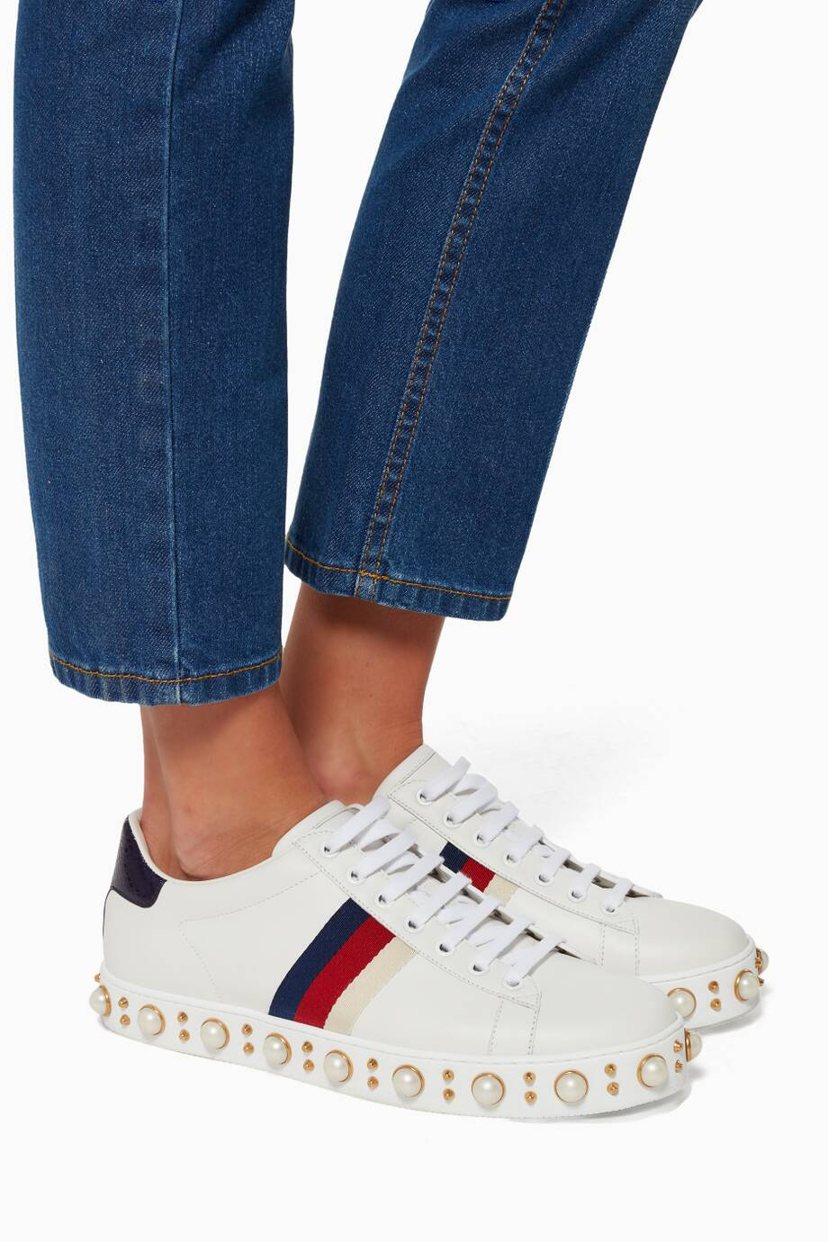 c0499a53f8c Shop Luxury Gucci White Ace Studded Low-top Sneaker