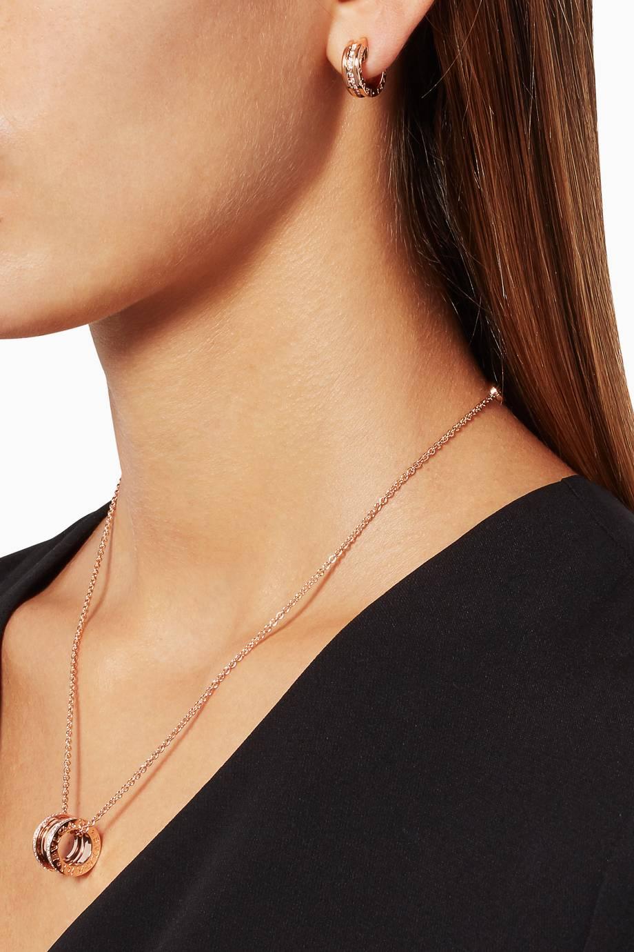 Shop luxury bvlgari rose gold bzero1 pendant with pav diamonds 1 aloadofball Images