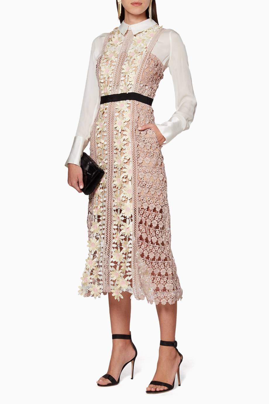 4196208ab9e6 Shop Luxury Self-Portrait Multi-Coloured 3D Floral Panel Midi Dress ...