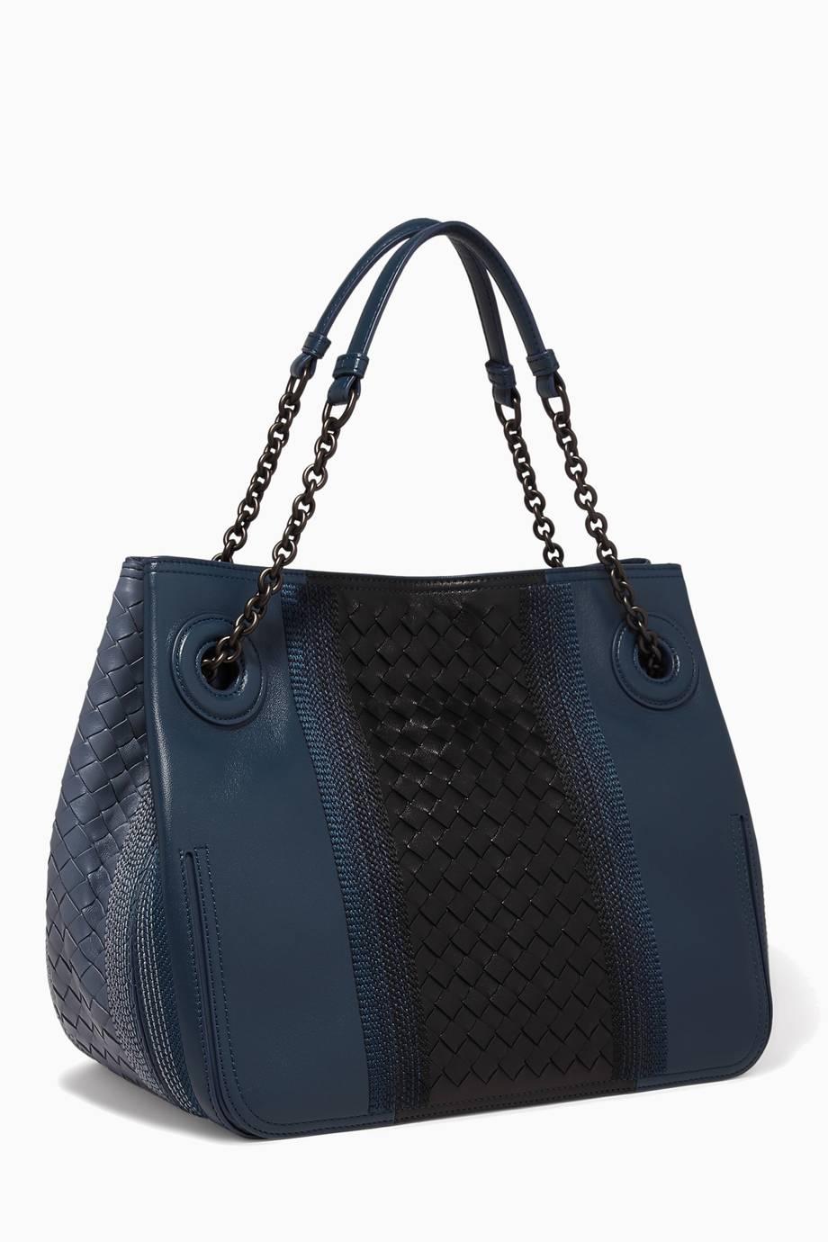 4ba4c060f5 Shop Luxury Bottega Veneta Denim-Blue Large Sunshine Leather Tote ...