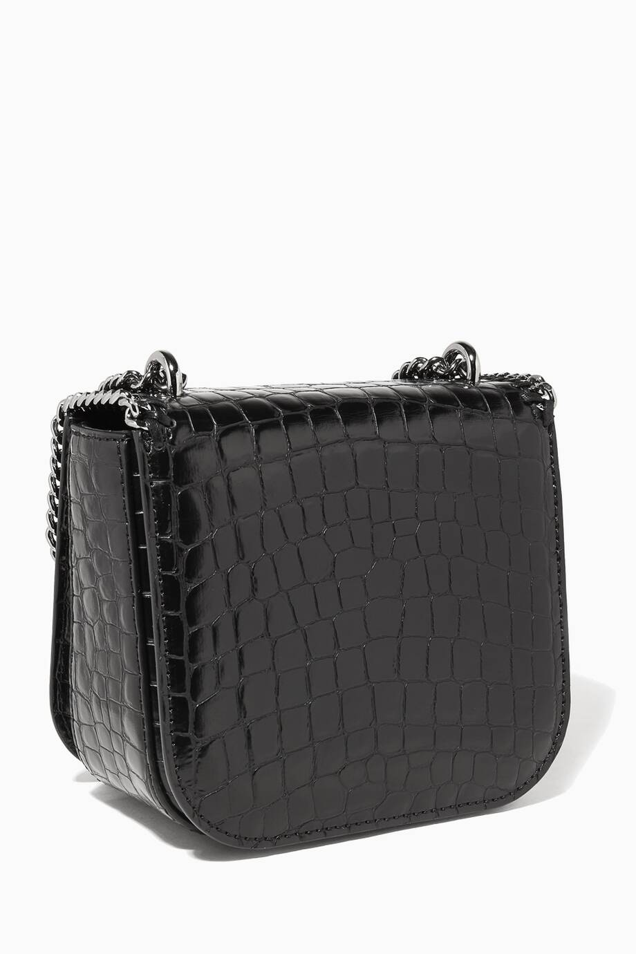 155e65ebe7ab Shop Luxury Stella McCartney Black Alter-Croc Mini Falabella Box ...