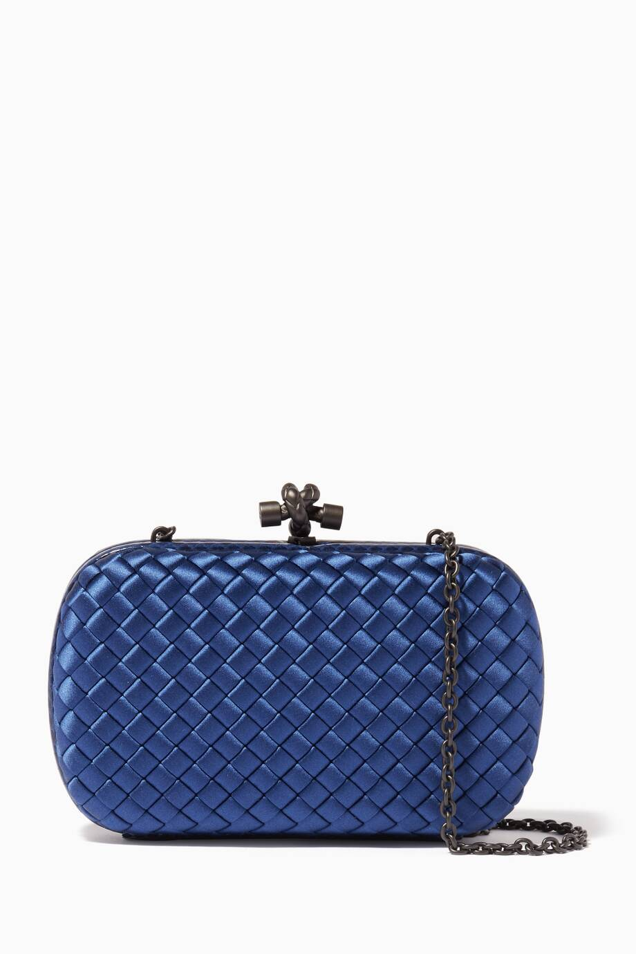 a81d1458b2f Shop Luxury Bottega Veneta Cobalt Ayers Satin Chain Knot Clutch ...