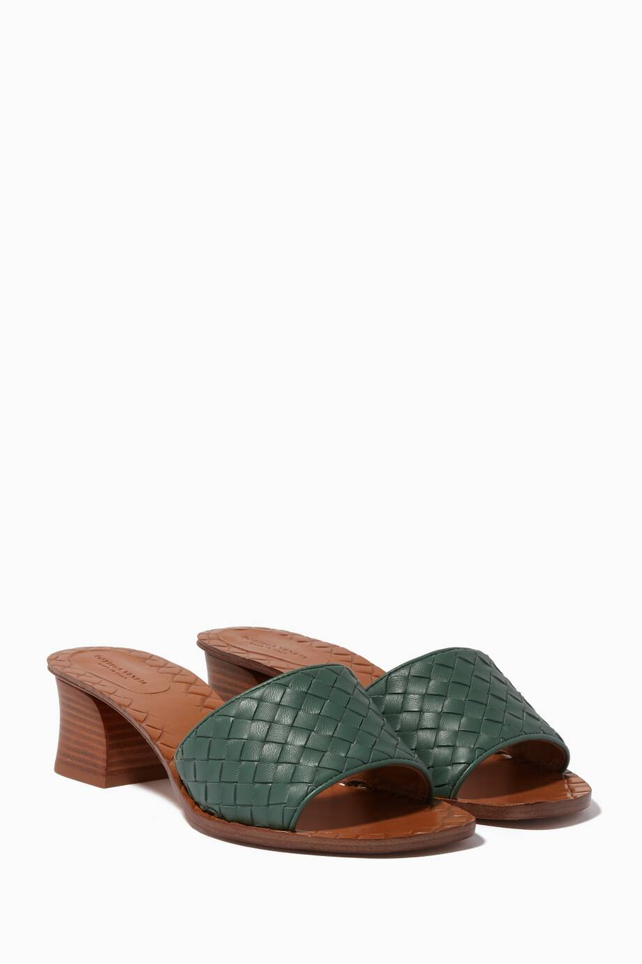 d5c559d0ef2a Shop Luxury Bottega Veneta Green Ravello Intrecciato Leather Sandals ...