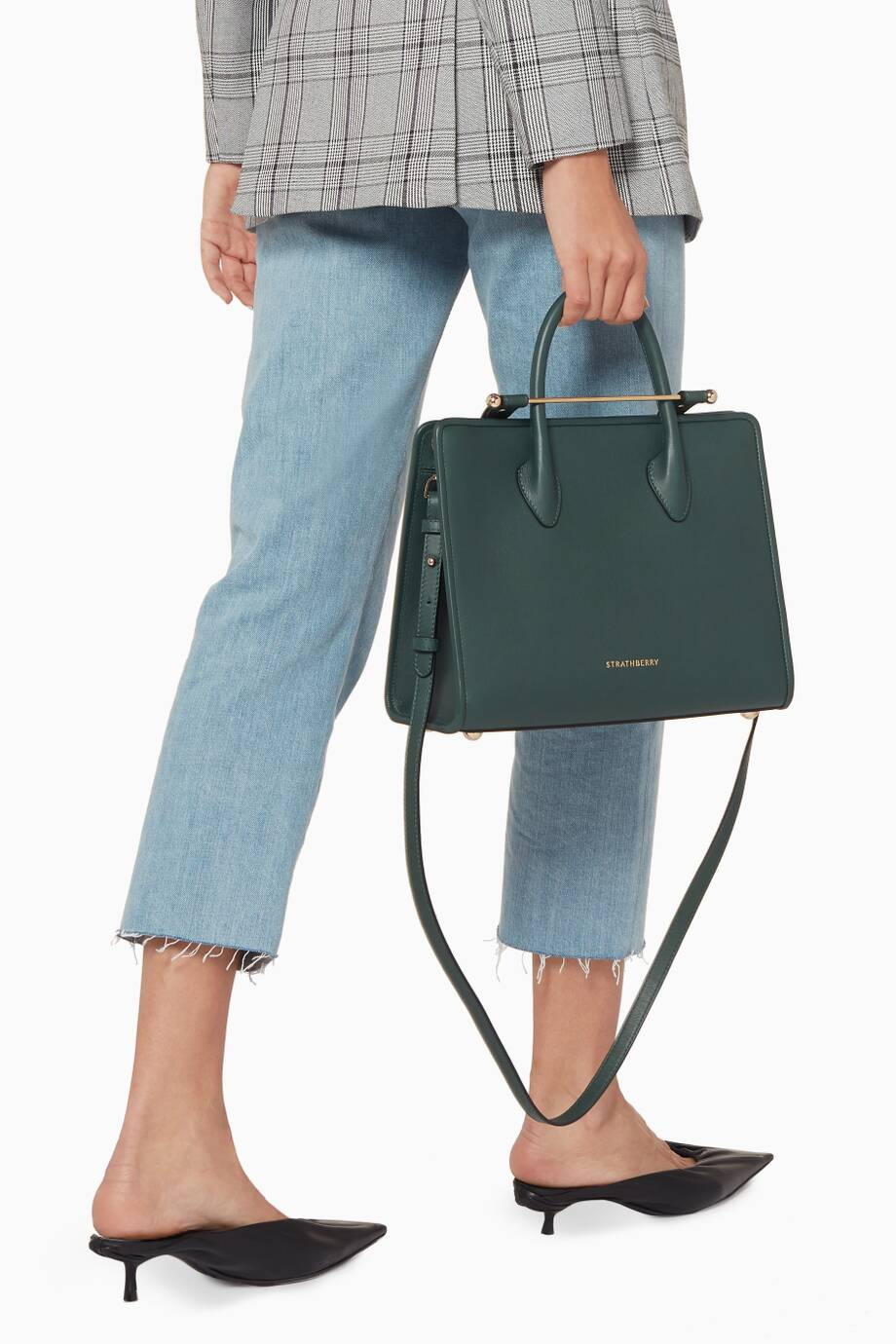 ab2a6160bc Shop Luxury Strathberry Dark-Green Midi Leather Tote Bag