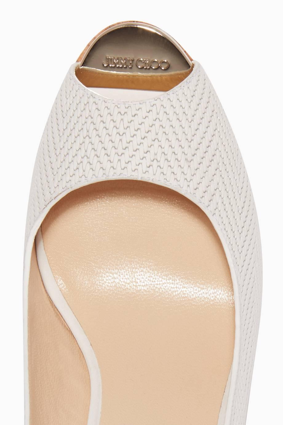 6ab965cd8de1 Shop Luxury Jimmy Choo Latte-White Prova Knit Wedges