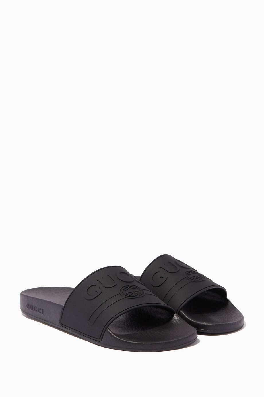 d771ef7fb68 Shop Luxury Gucci Black Logo Rubber Slide Sandals