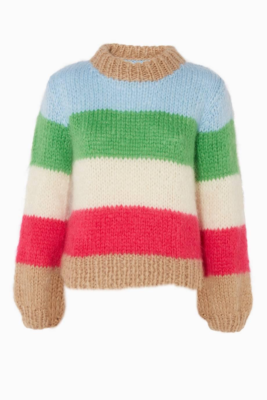 05349298d91 Shop Luxury Ganni Multi-Coloured Striped The Julliard Sweater ...